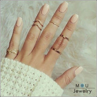 Fashion 6pcs /set Unique style Gold plated Stacking Midi Finger Knuckle rings Cute Leaf Ring Set For women