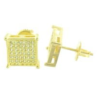 Canary Square Design Earrings Screw Back Mens Classy 8 MM