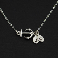 Personalized Silver Anchor Necklace.Silver Sideways Anchor,STERLING SILVER, Custom initial, Marine jewelry, Strength