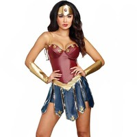 Wonder Woman Cosplay Costumes Adult Justice League Super Hero Costume Christmas Halloween Sexy Women Fancy Dress Diana Cosplay