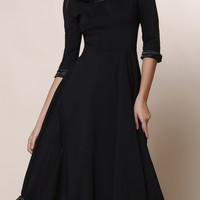 Vintage  Round Collar Solid Color Flounced 3/4 Sleeve Dress