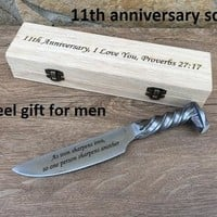 11th anniversary, steel anniversary, steel gift for him, engraved steel gift, railroad spike knife, eleventh anniversary,steel gifts for men