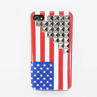 American Flag Pyramid Studded iPhone 4/4s Case