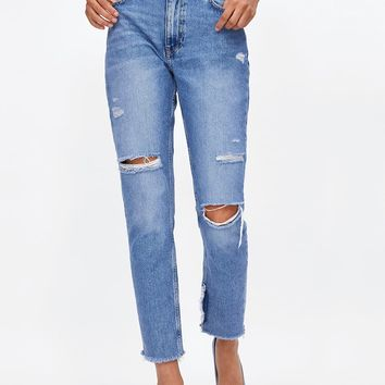 MOM FIT JEANS Z1975 WITH PATCHES