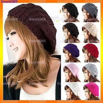 CREYU3C 10x  Fashion Women Lady Winter Warm Knitted Crochet Slouch Baggy Beret Beanie Hat Cap  Y1
