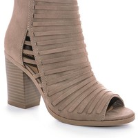 Taupe Ruth Peep Toe Booties