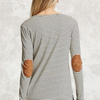 Stripe Elbow-Patch Top