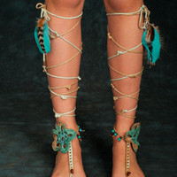 Coachella Inspired Barefoot Sandals Tribal Crochet Foot Jewelry Hippie Festival Wear Yoga Boho Anklet Feather jewelry Turquoise beads TEAL