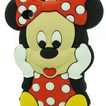 LliVEER Red Iphone 5C Disney 3D Cartoon Minnie Mouse Silicone Soft Rubber Case Skin Protective Cover for Apple Iphone 5C