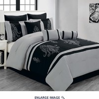 13 Piece Queen Sherman Black and Gray Bed in a Bag Set