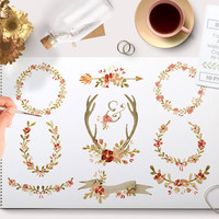 Watercolor Clipart Fall Flowers and Wreaths including banner images, arrows and laurel graphics. Autumn wedding invitations wall art & more