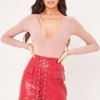 trinity red pu lace up mini skirt