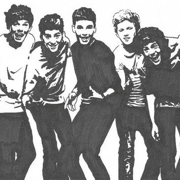 One Direction Pop Art Drawing - Print