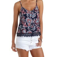 Navy Combo Strappy Paisley Button-Up Tank Top by Charlotte Russe