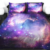 Bedding, 4 piece Galaxy Bedding Set, Purple Nebula reversible Duvet Cover Set & shams, Nebula 4 peace full / queen Quilt Cover
