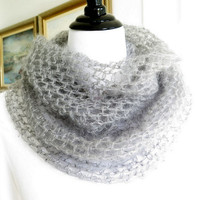 Silk mohair cowl, grey crochet infinity scarf, soft cozy neck warmer
