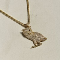 King Ice 14K Gold Owl Chain Necklace | Urban Outfitters
