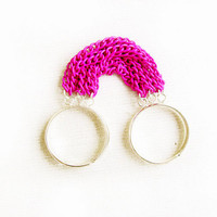 Double Ring, Two Finger Ring in Neon Pink and Silver-  Two Color Fringe Statement Handmade Ring