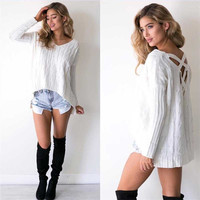 Irregular Hollow-Out Criss Cross Back Sweater