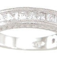 Sterling Silver CZ Antique Style Women's Wedding Band Ring Sizes 5 6 7 8 and 9