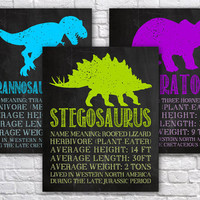 Printable Dino Wall Art | Dinosaur Stats Room Decor | Classroom Wall Hanging | Standard / US | Chalkboard School Decor | Digital Download
