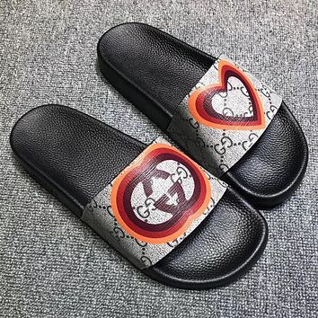 GUCCI New Fashion Love Heart More Letter Print Flip Flop Slippers Shoes
