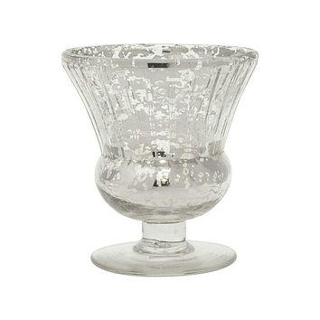 Vintage Mercury Glass Candle Holder (3.5-Inch, Olivia Design, Fluted Urn, Silver) - Decorative Candle Holder - For Home Decor and Wedding Centerpieces