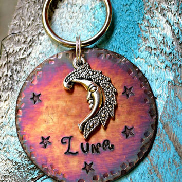 "Dog Tag, Pet Tags,  Animal Creations, Pet Accessories, Pet Supplies, ID Tags, ""Luna"", Collar ID, Personalized, Moon, Nightsky, star"