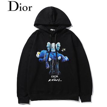 DIOR selling casual hoodies for couples fashion figures, bear hugs printed round-neck hoodies Black