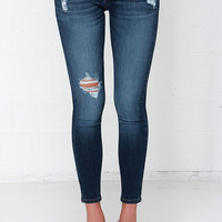 We are the Champions Medium Wash Distressed Ankle Skinny Jeans