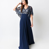 Navy Beaded Lace Open Sleeved Long Dress 2015 Prom Dresses