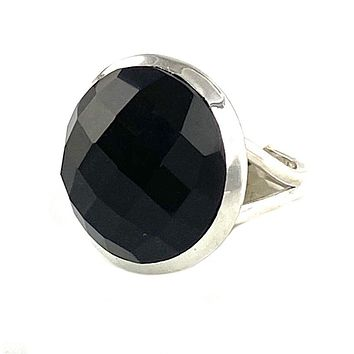 Black Onyx Faceted Round Sterling Silver Ring