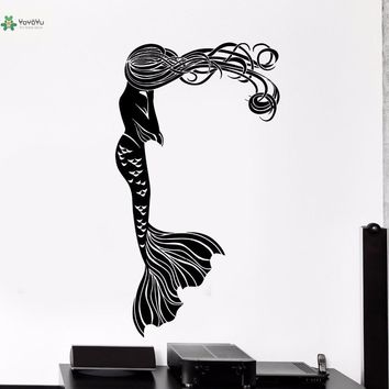 YOYOYU Vinyl Wall Decal Long-haired Mermaid Fairy Tale Romantic Girl Kids Room Decoration Art Dream Stickers FD100