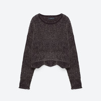 CROPPED ROUND NECK SWEATER - View all-KNITWEAR-WOMAN   ZARA United States