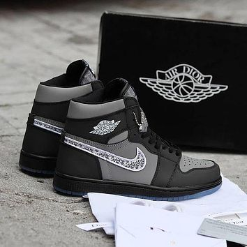 Nike Air Jordan 1 High Black Basketball Shoes Sneakers Shoes