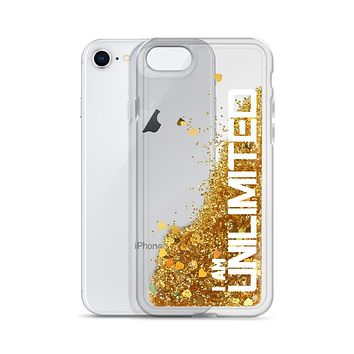 """ I AM UNLIMITED"" Positive Motivational & Inspiring Quoted Liquid Glitter iPhone Mobile Case"