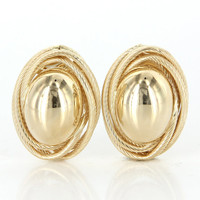 Vintage 14 Karat Yellow Gold Large Oval Button Cocktail Earrings Estate Jewelry