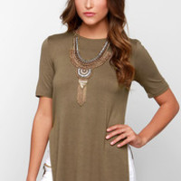 Glamorous Tunic of Time Olive Green Tunic Top