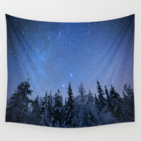 Shimmering Blue Night Sky Stars 2 Wall Tapestry by Nature's Beauty