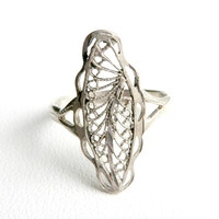 Vintage Sterling Silver Filigree Swirls Ring Size 7