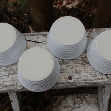 7 vintage stoneware ribbed dessert cups, custard cups, vintage kitchen baking, mini stoneware crock bowls, farmhouse chic decor, shabby chic
