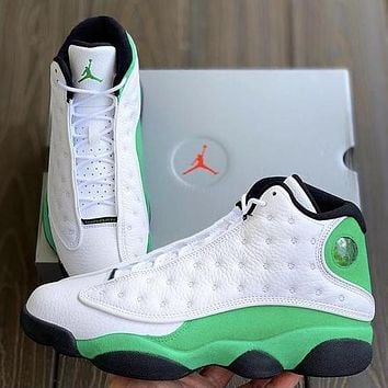 NIKE Air jordan 13 high top men's and women's color matching sneakers casual shoes White&Green