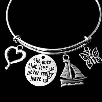 Sailboat Memorial Adjustable Bracelet The Ones That Love Us Never Leave Expandable Charm Wire Bangle Silver Gift Butterfly Open Heart