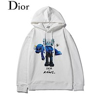DIOR selling fashionable figures, bears and cuddles digital direct-spray printed casual couple hoodies White