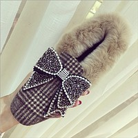Bow autumn and winter retro plaid cloth wild plush shoes  Khaki F