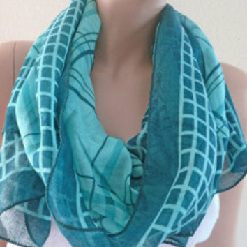 Blue Plaid Scarf Two Tones Long Fashion Checkerboard Scarves | LaLaMooD