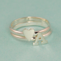 Heart & Initial Stacking Ring Set