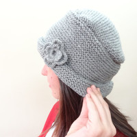 Grey Hat Beanie,Knit Beanie, Hand Knitted Beanie, Gift for Her