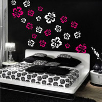Hibiscus Flowers 2 COLORS vinyl wall by ExpressionsWallArt