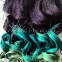 Ombre Hair, Dip Dye, Remy human hair, extensions, Black/Green Fades